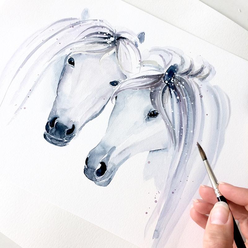 Horses, watercolor, brush, illustration