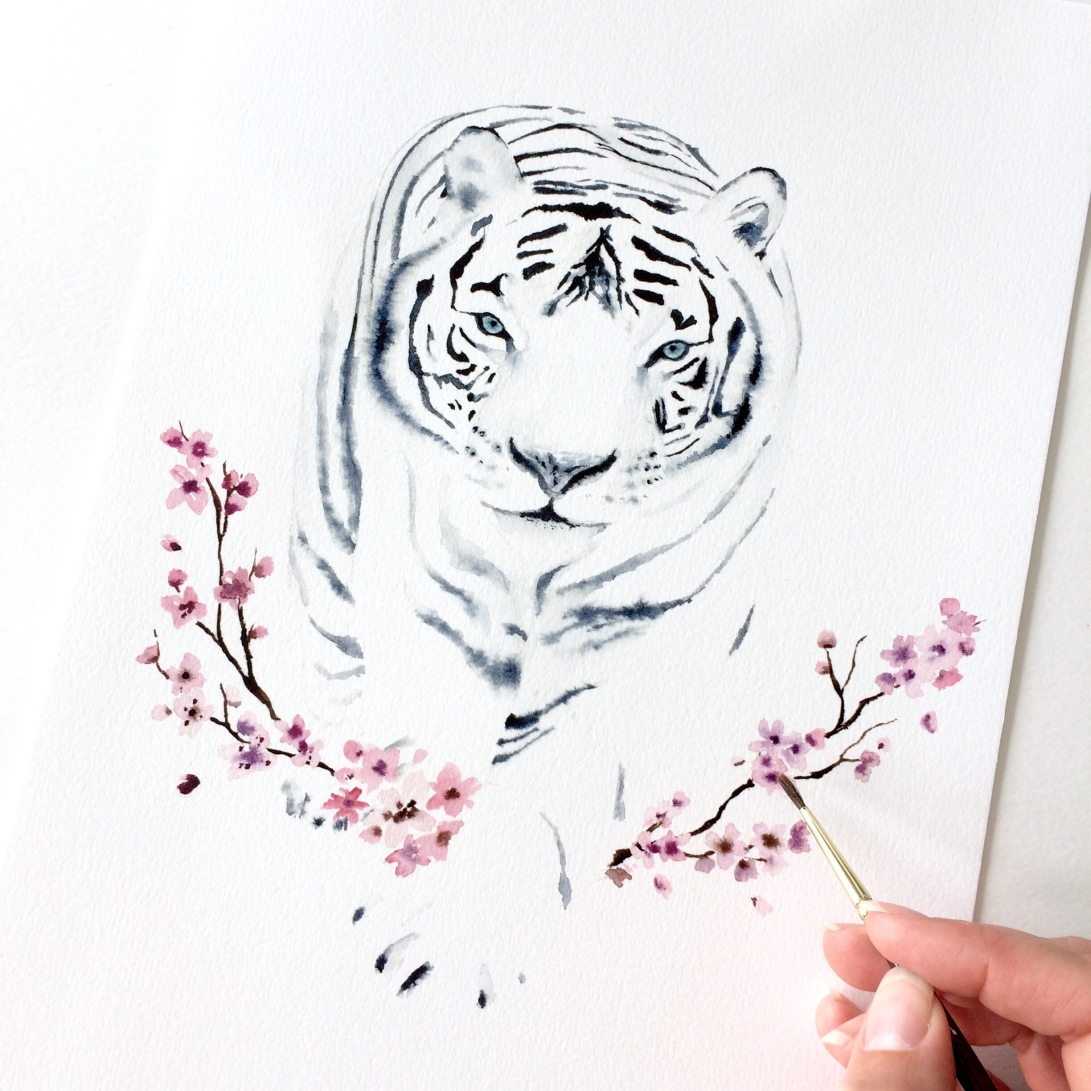 tiger in watercolor, white tiger