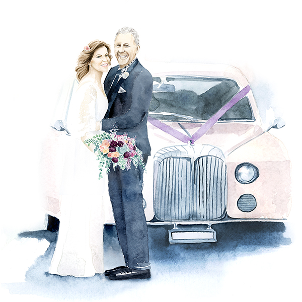 Wedding portrait in watercolour