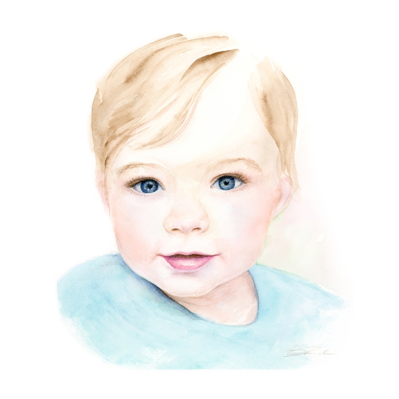Baby watercolor portrait