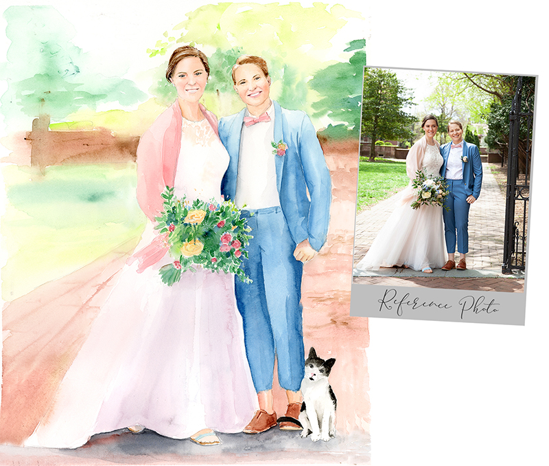 buy wedding portrait in watercolor