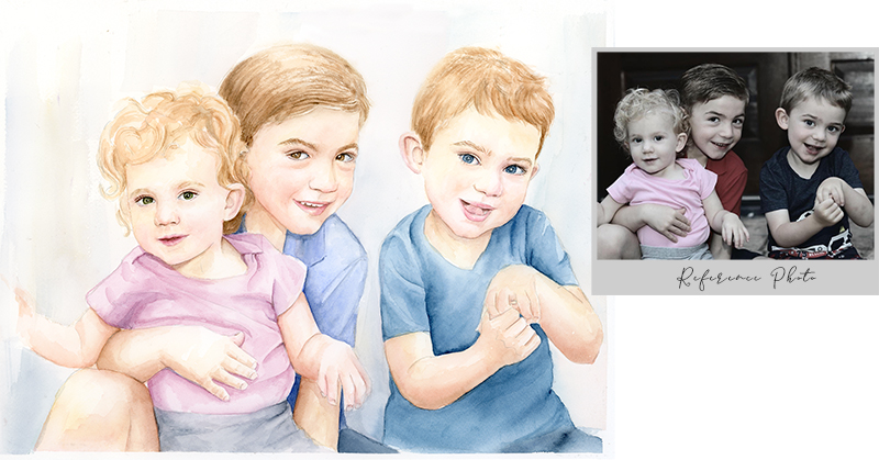 purchase watercolor portrait of kids
