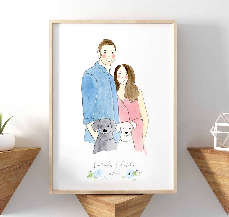 family portrait in watercolour